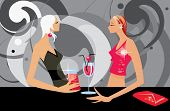 picture of debauchery  - vector image of two talking women in bar - JPG
