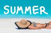 SUMMER title written on beach vacation background. Holidays travel bikini suntan woman asleep sun ta poster