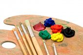 foto of paint palette  - painting brushes and palette on white background - JPG