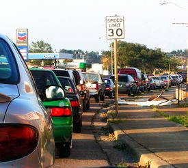 picture of katrina  - cars lined up to get gas - JPG