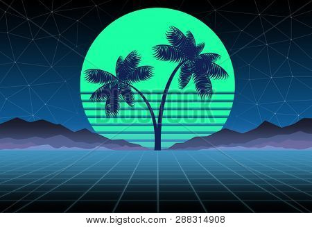 Synthwave and retrowave background template