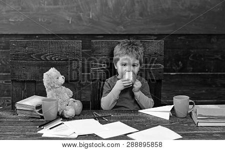 School Break Hungry Kid Eating