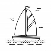 Sailing Yacht Black And White, Cartoon Square Icon, Drawing. Boat With Sail And Flag, Sailing On The poster