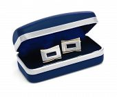 Cuff links On The Blue Box