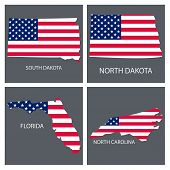 Poster Map Of United States Of America With State Names. Flag Print Map Of Usa For Geographic Themes poster