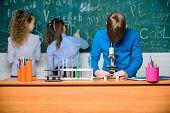 Little Kids Learning Chemistry In Lab. Chemistry Equipment. Happy Children. Chemistry Lesson. Chemis poster