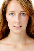 Close up portrait of a redhead caucasian woman, with barely any make up