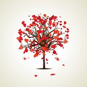 Vector illustration of a love tree having  heart shapes in red and pink color on isolated background for Valentines Day and other occasions.