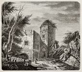Chateau de Murol (Murol castle) old view, France. Created by Dauzats, published on Magasin Pittoresque, Paris, 1845