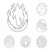 Vector Design Of Dinosaur  And Magic  Symbol. Set Of Dinosaur  And Fantasy Stock Vector Illustration poster