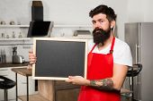 Cook Hold Blank Chalkboard Copy Space. Secret Tips. Useful Information. Man Bearded Hipster Red Apro poster