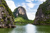 Karst Formations In Halong Bay, Vietnam, In The Gulf Of Tonkin. Halong Bay Is A Unesco World Heritag poster