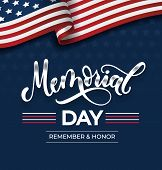 Memorial Day Greeting Card With Lettering And Usa Flag. Vector Background For Memorial Day. Remember poster