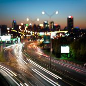 Highway in to the big city at night - central Europe - Prague
