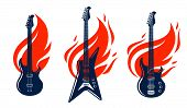 Electric Guitar On Fire, Hot Rock Music Guitar In Flames, Hard Rock Or Rock And Roll Concert Or Fest poster