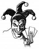 Joker With Playing Cards. Ink Black And White Drawing poster