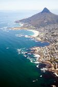 overhead view of coast of Cape Town, South Africa