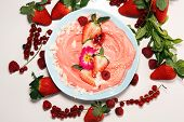Healthy Homemade Raw Vegan Banana And Berry Ice Cream (icecream, Nicecream) Topped With Organic Stra poster