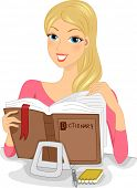 Illustration of a Woman Celebrating Dictionary Day