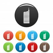 Sky Scraper Icons Set 9 Color Isolated On White For Any Design poster