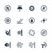 Vector Icons Set Of External Influence And Protection From It. Antibacterial, Water, Heat, Cold, Dus poster
