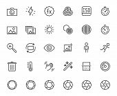 Photography And Digital Camera Related Vector Icon Set In Thin Line Style poster