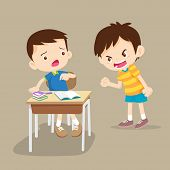 Angry Children.quarreling Kids. Angry Boy Shouting At Friend.raging Kids.children Shouting To Each O poster