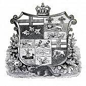 das alte Wappen Kanadas. Stich von Alwin Zschiesche veröffentlicht am