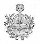 das alte Wappen der Argenitana Republik. Stich von Alwin Zschiesche veröffentlicht am