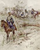 Cavalry detachment. Illustration by artist A.P. Apsit from book