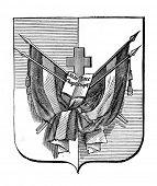 das alte Wappen der Republik von San Domingo. Stich von Alwin Zschiesche auf