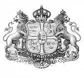 Das alte Wappen von Schweden. Stich von Alwin Zschiesche veröffentlicht am