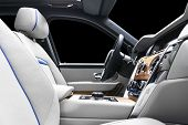 Modern Luxury Car White Leather Interior With Natural Wood Panel. Part Of Leather Car Seat Details W poster