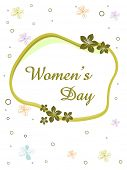 Vector illustration of a elegant greeting card with text women's day and copy space on floral backgr