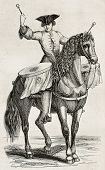 Drummer on horseback old illustration. By unidentified author, published on Magasin Pittoresque, Par