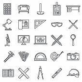 Architect Material Tool Icons Set. Outline Set Of Architect Material Tool Icons For Web Design Isola poster