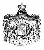 das alte Wappen von Baden (Österreich). Stich von Alwin Zschiesche veröffentlicht am
