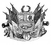 das alte Wappen der Republik von Peru. Stich von Alwin Zschiesche veröffentlicht am