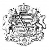 Das alte Wappen von Sachen (Deutschland). Stich von Alwin Zschiesche veröffentlicht am