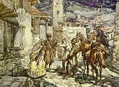Cossacks in a city. Illustration by artist A.Apnist from book
