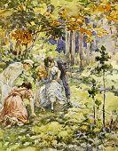 Children mushrooming. Illustration by artist A.Apnist from book