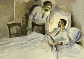 Man at bedside of his sick friend. Illustration by artist Zahar Pichugin from book