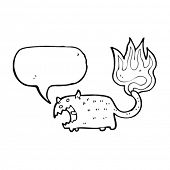 cat with burning tail cartoon