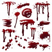 Blood Splatters On Isolated Background. Set Of Dripping Blood Drops And Trail. Set Of Smears, Splash poster