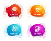 Liquid Badges. Set Of Heartbeat, Basketball And Disabled Icons. Mint Bag Sign. Medical Heart, Sport  poster