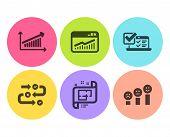 Chart, Architectural Plan And Online Survey Icons Simple Set. Survey Progress, Website Statistics An poster