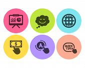 Payment Click, Ab Testing And Globe Icons Simple Set. Speech Bubble, Presentation And Quick Tips Sig poster