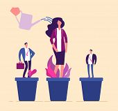 Employees Growth. Business Professional People In Flowerpot Development Training Growing Management  poster
