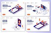 Vector Online Pharmacy, Online Doctor, Web Medicine Landing Pages. Illustration Of Medicine App, Pha poster