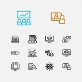 Webinar Icons Set. Education E-learning And Webinar Icons With Webinar Online, Video Meeting And Dev poster